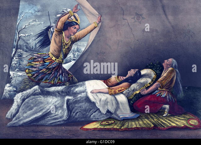 hiawatha minnehaha longfellow poem stock photos hiawatha  the death of minnehaha illustration by currier ives 1867 minnehaha is a fictional