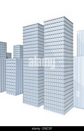 Architecture Sketch Of Modern Skyscrapers In Big City