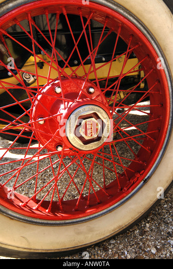 close up of a 1920s stutz red wire spoke wheel with white wall tire