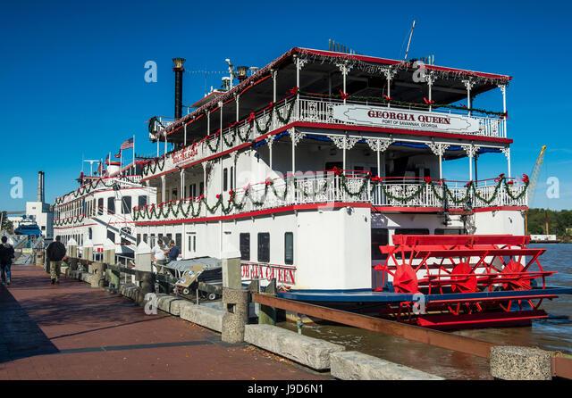 Riverboat on the Savannah River, Savannah, Georgia, USA, North America - Stock Image