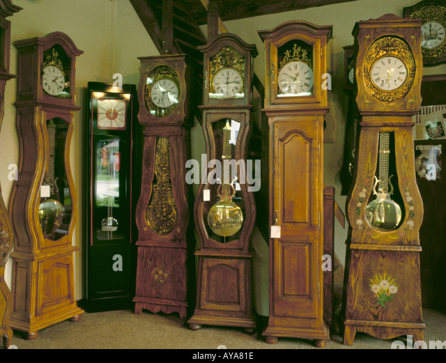 traditional french comtois grandfather clocks the jura france stock image - Grandfather Clocks
