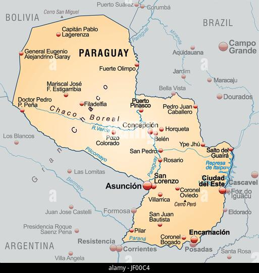 Map Of Paraguay Stock Photos Map Of Paraguay Stock Images Alamy - Map of paraguay