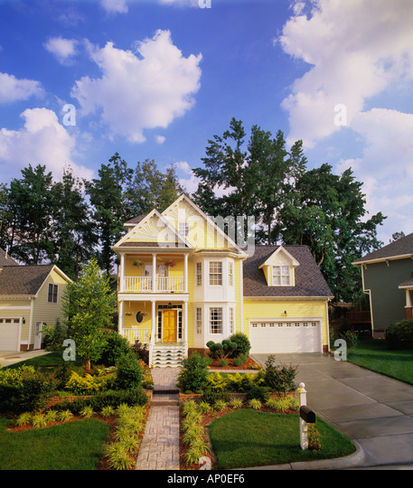Front Porch Of Yellow House Stock Photo: Two Story Home Garage Stock Photos & Two Story Home Garage