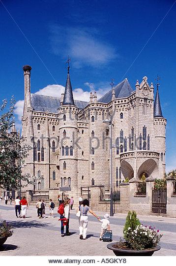 astorga palacio de gaudi day stock image