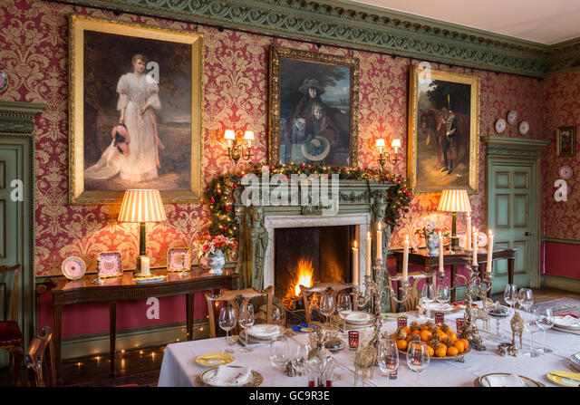 Grade I Listed Victorian Gothic Dining Room Set For Christmas Dinner With Blazing Fire Carlton