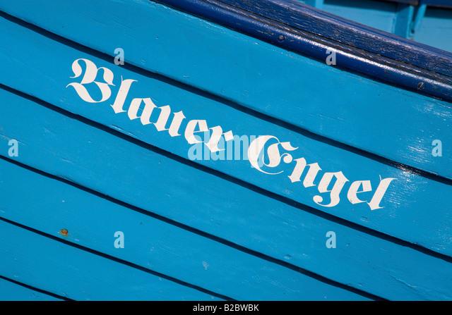 Fishing Boat With The Symbolic Name Blue Angel Flensburg Schleswig Holstein Germany