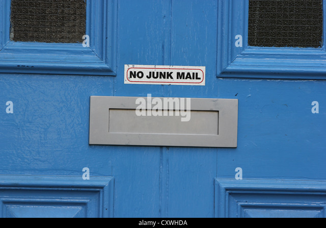 letterbox door letterbox no junk mail brightly colored door detail photoarkive
