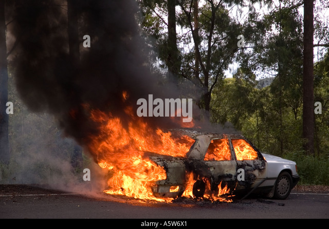 Superbe A Mercedes Car On Fire On An Australian Country Road. DSC_8579  Stock Image