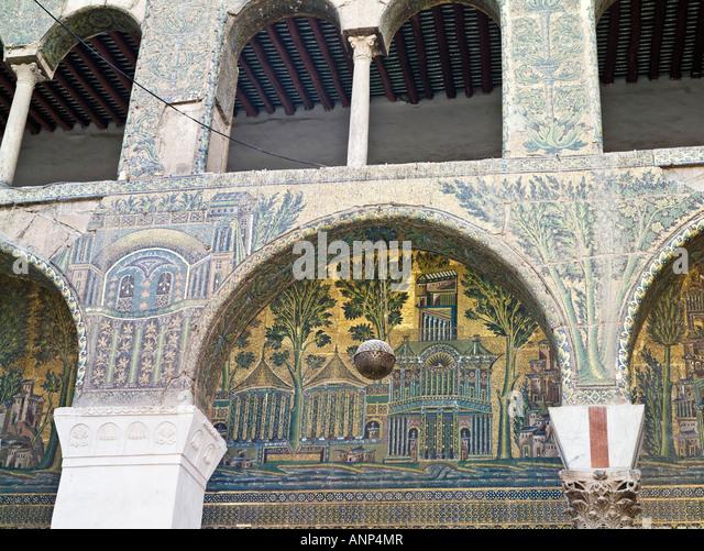 Mosque Detail: Damascus Mosaics Stock Photos & Damascus Mosaics Stock