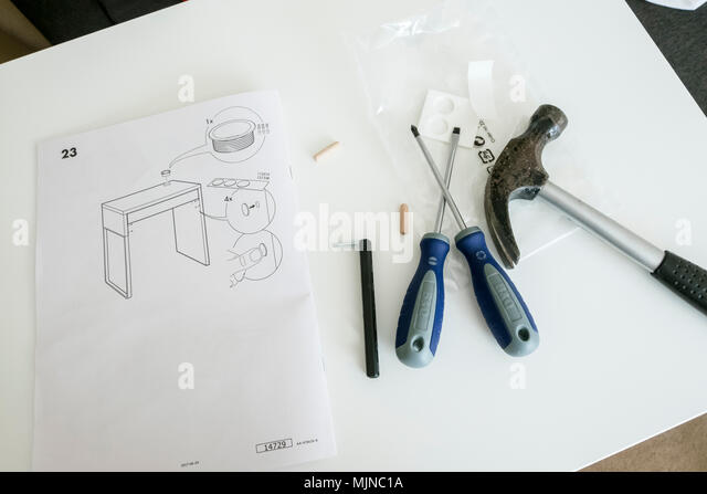 Ikea Self Assembly Furniture Instructions And Tools   Stock Image