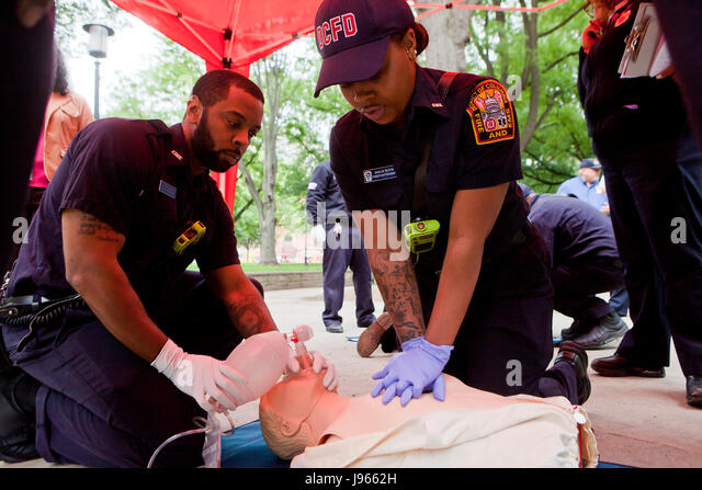 Fire and EMS technicians (EMT, Paramedic) performing CPR on CPR manikin, administering chest compressions and using - Stock Image