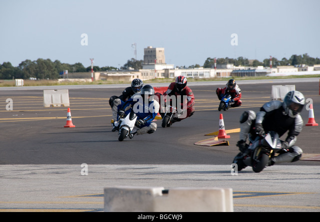 Nice Mini Motor Bikes Race Around A Temporary Circuit Built On Luqa Airport For  A Charity Motor