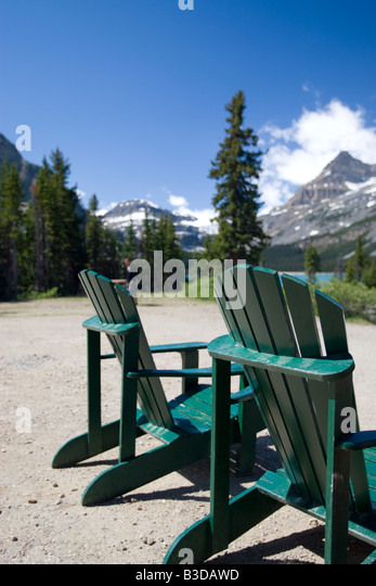 Lawn Chairs With A View Of The Rocky Mountains   Stock Image
