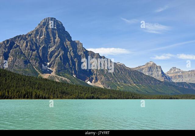 Waterfowl Lake and Mount Chephren, Banff Nationalpark, Alberta, Rocky Mountains, Canada - Stock Image