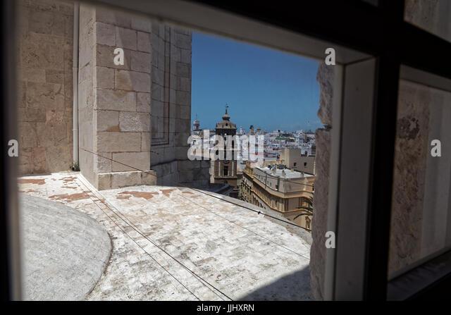 View from inside the bell tower, Cadiz Cathedral (Catedral de Santa Cruz de Cádiz), Plaza Catedral, Cadiz, - Stock Image