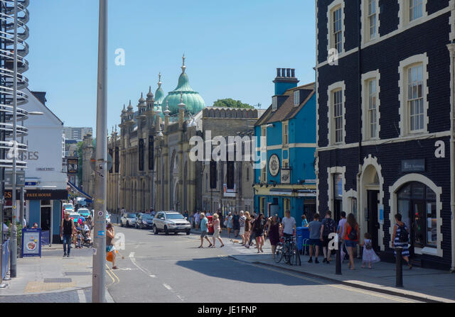 Royal Pavillion Brighton viewed from the High Street. - Stock Image