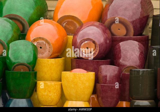 Pile Glazed Garden Pots Planters   Stock Image