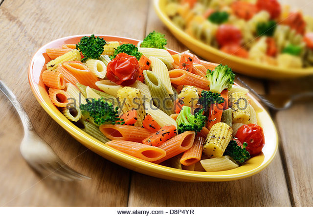 Pasta Salad With Broccoli Carrot Corn And Dried Tomatoes Stock Image