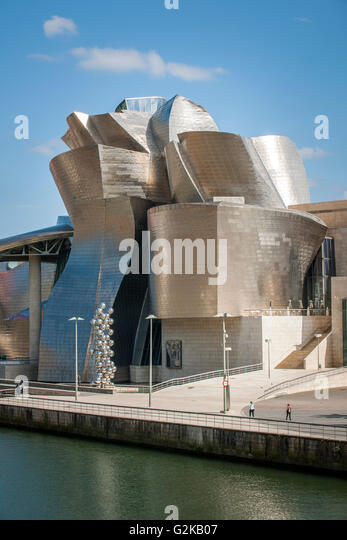 Guggenheim Museum Bilbao on the bank of the Nervion River, architect Frank  O. Gehry