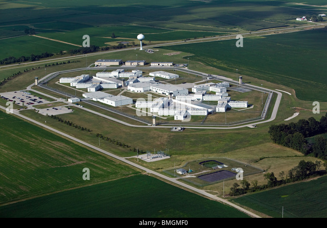aerial view above large prison near central indiana illinois border usa stock image