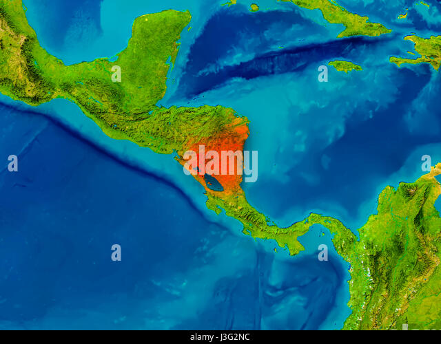 Map Satellite Geography Nicaragua Stock Photos Map Satellite - Physical map of nicaragua
