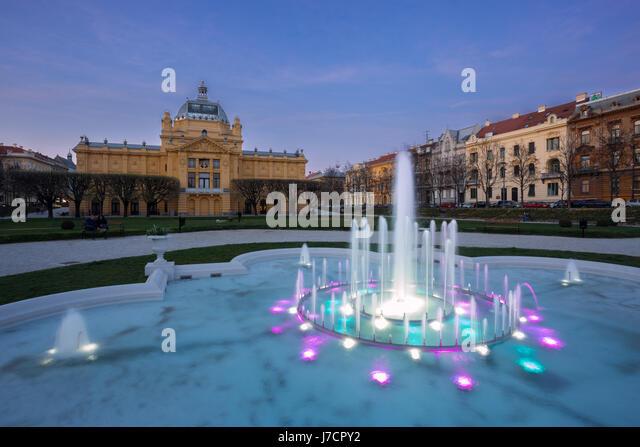 Art pavillion during sunset in town Zagreb, Croatia - Stock Image