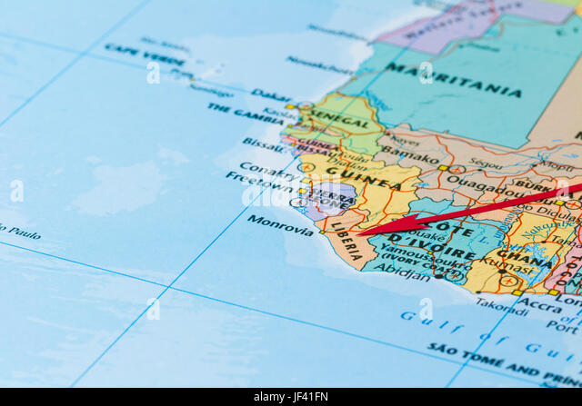 Geography travel liberia monrovia city stock photos geography photo of liberia country indicated by red arrow country on african continent freerunsca Gallery