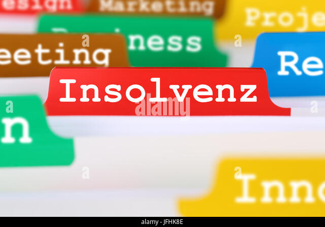 Insolvenz oder Bankrott einer Firma Business Konzept Register auf Dokumente - Stock Image
