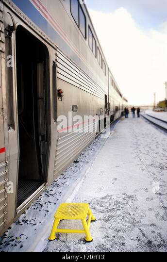 Step stool outside open passenger train door - Stock Image : train step stool - islam-shia.org