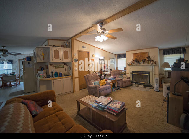 Great Interior Of Double Wide Mobile Home In North Florida.   Stock Image