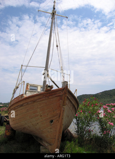 Front Of Ship Left Abandoned By Lake In Skiathos Greece