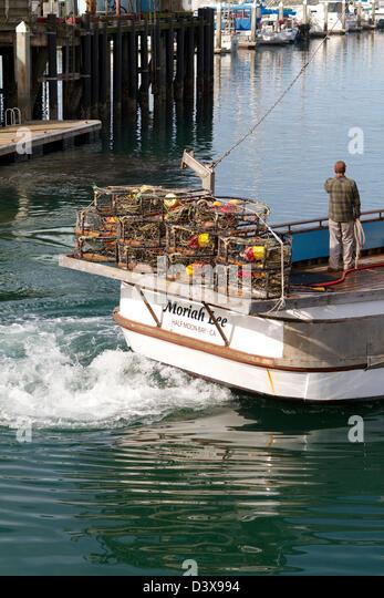 Crab fishing boat stock photos crab fishing boat stock for Half moon bay pier fishing
