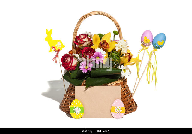 Easter gifts stock photos easter gifts stock images alamy easter composition on the white background of the eggs rabbit flowers signs and negle Image collections
