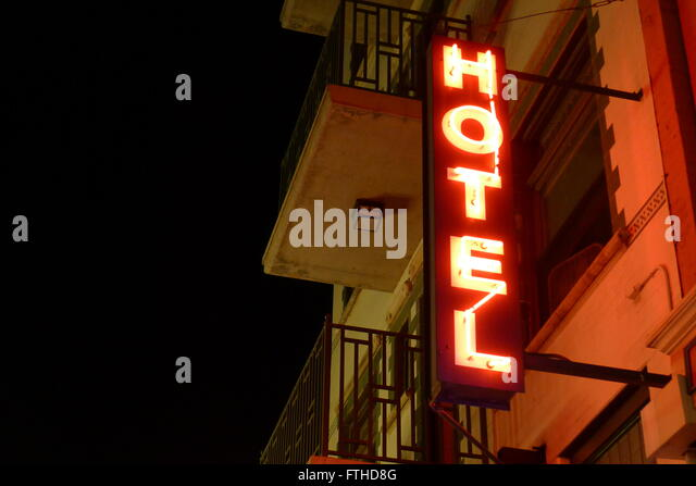 Red Vertical Simple Classic Neon Sign Of Hotel