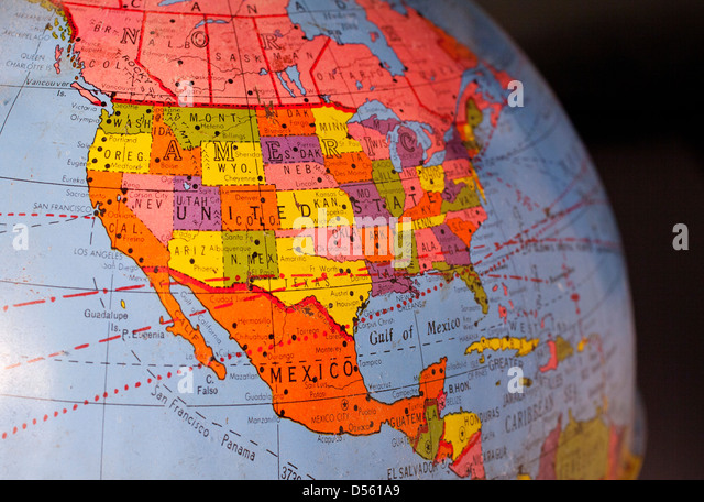 North America On An Old Globe Stock Image