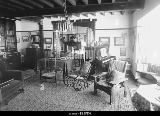 edwardian house interior. Interior of an Edwardian house in 1914  Photograph taken Ilkley Yorkshire England House Stock Photos