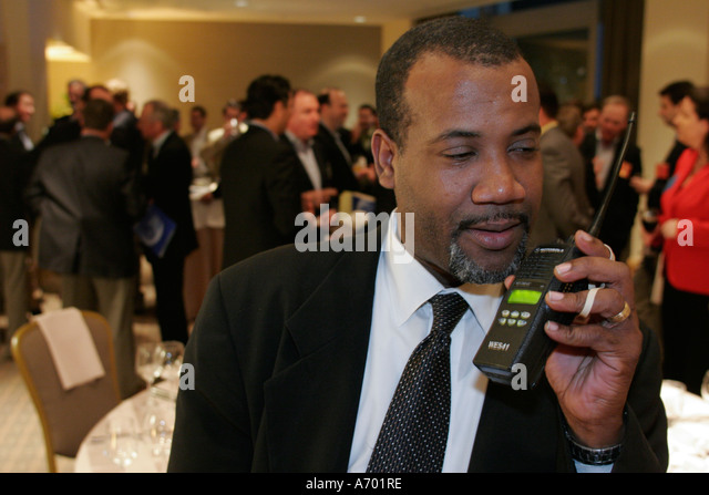 Hollywood Florida Westin Diplomat Resort Black Male Catering Manager Two  Way Radio   Stock Image  Catering Manager