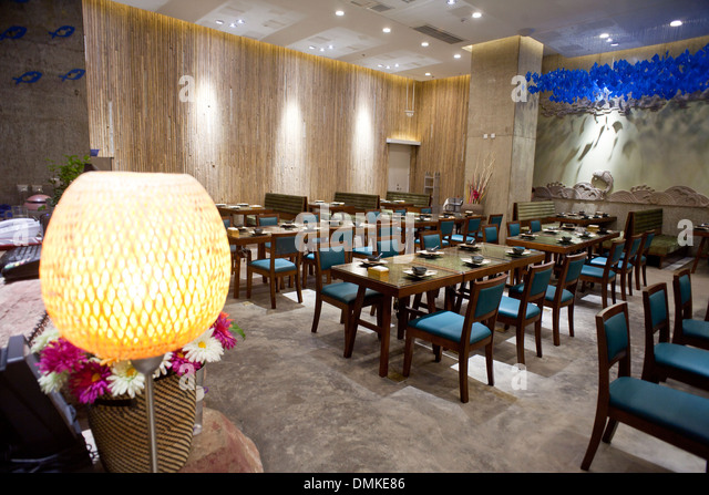 Upscale western style restaurant decorated stock photos