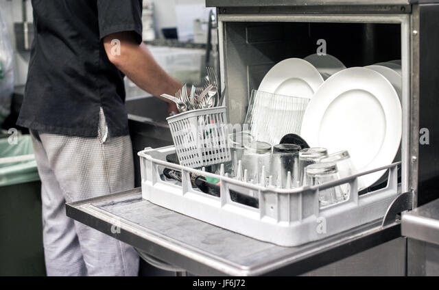 Restaurant Kitchen Hand dishwasher restaurant stock photos & dishwasher restaurant stock