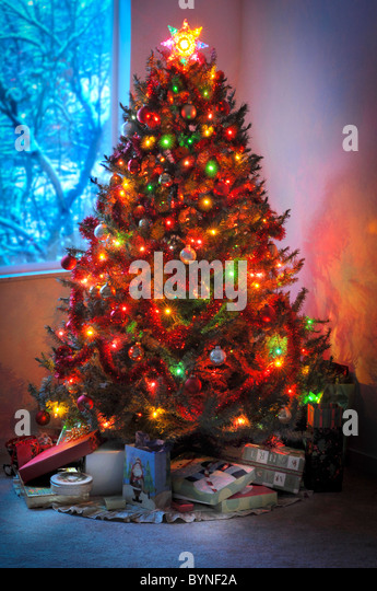 Beautiful christmas decorations in tree stock photos for 180 degrees christmas decoration