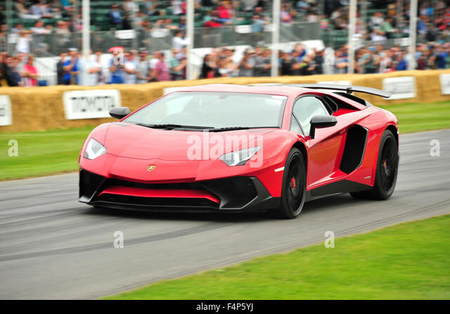 A Red Lamborghini Aventador LP 750 4 Superveloce At The Goodwood Festival  Of Speed In