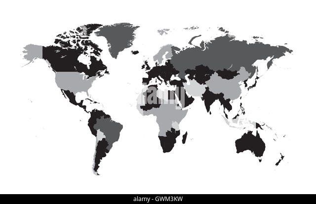 Africa map black white illustration stock photos africa map world map vector flat with countries black and white stock image gumiabroncs Choice Image