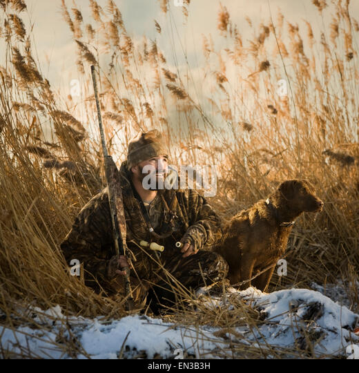 Charming Man And His Dog Duck Hunting   Stock Image Part 18