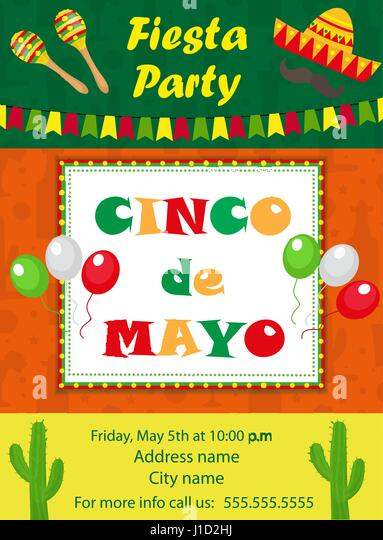 Mexican hat stock vector images alamy cinco de mayo invitation template flyer mexican holiday postcard vector illustration stopboris Images