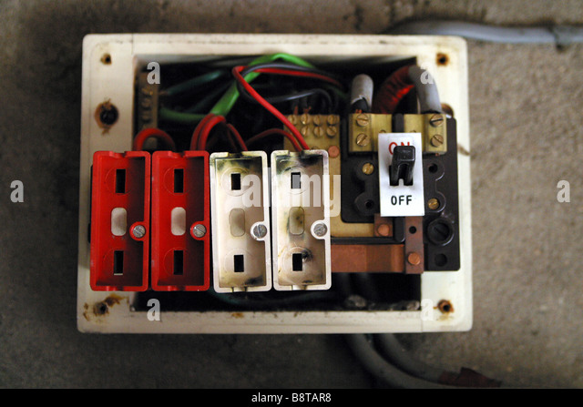 Fuse Box To Consumer Unit : Old style consumer unit electrical wire fuse box stock