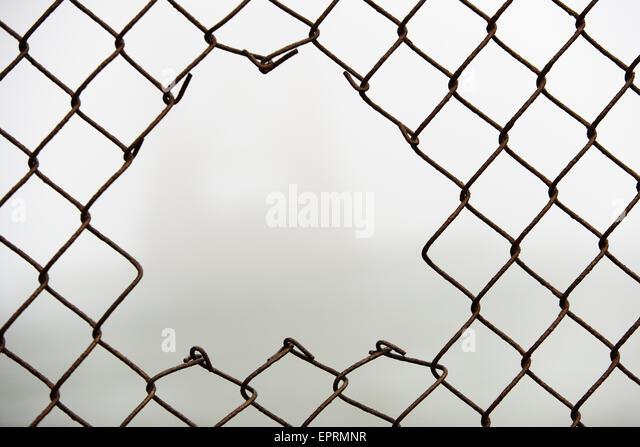 Broken Chain Link Fence Vector
