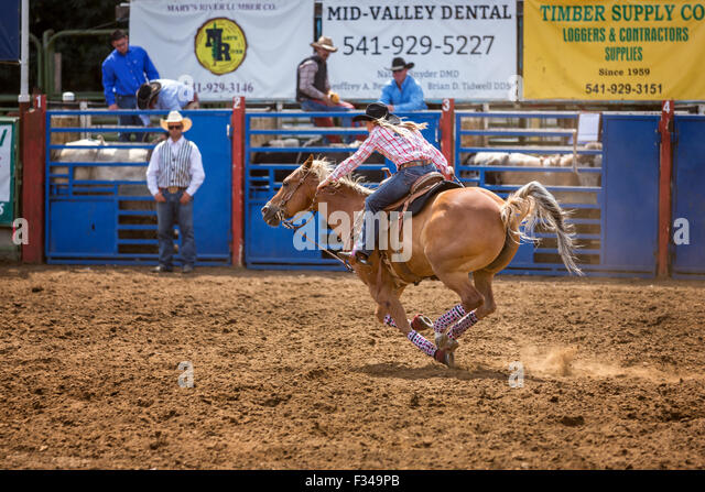 Cowgirl barrel racing philomath frolic amp rodeo oregon usa stock