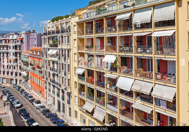 View Of Colorful Apartment Buildings In Nice, France.   Stock Image