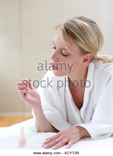 Woman Blue Nail Polish Stock Photos & Woman Blue Nail
