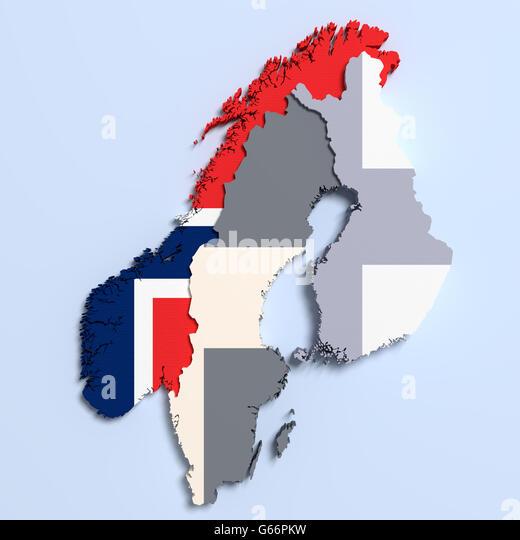 D Rendering Norway Map Flag Stock Photos D Rendering Norway - Norway map and flag
